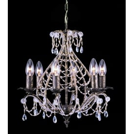 Montpellier 6 Light Ceiling Pendant In Antique Bronze Finish With Crystal Decoration
