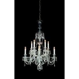 Most 10 Light Ceiling Pendant In Polished Chrome And Clear Crystal Glass With White Candle Sleeves