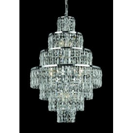 New York 8 Light Crystal Ceiling Pendant with Polished Chrome Frame