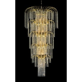 Niva 13 Light Ceiling Pendant in Gold Finish With Hanging Crystal Beads