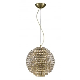 Nord 5 Light Ceiling Pendant In Antique Brass And Clear Crystal Finish