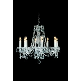 Opava 8 Light Ceiling Pendant In Chrome And Clear Crystal Finish With White Candle Sleeves