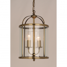 Orly 2 Light Ceiling Lantern in Antique Brass Finish