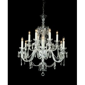 Ostrava 12 Light Ceiling Pendant In Chrome And Clear Crystal Finish With White Candle Sleeves