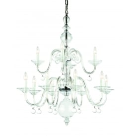 Padova 12 Light Ceiling Pendant In Polished Chrome And Clear Crystal Finish