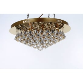 Parma Large Circular 8 Light Flush Fitting in Gold with Crystal Detail