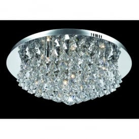 Parma Large Circular 8 Light Flush Fitting in Polished Chrome with Crystal Detail