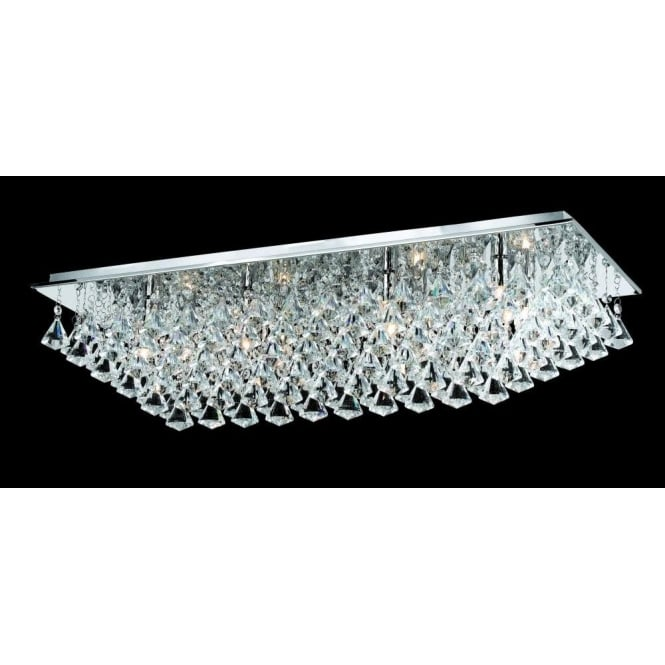 new style e0fc7 77e77 Impex Lighting Parma Large Rectangular 8 Light Flush Fitting with Polished  Chrome Finish and Crystal Detail