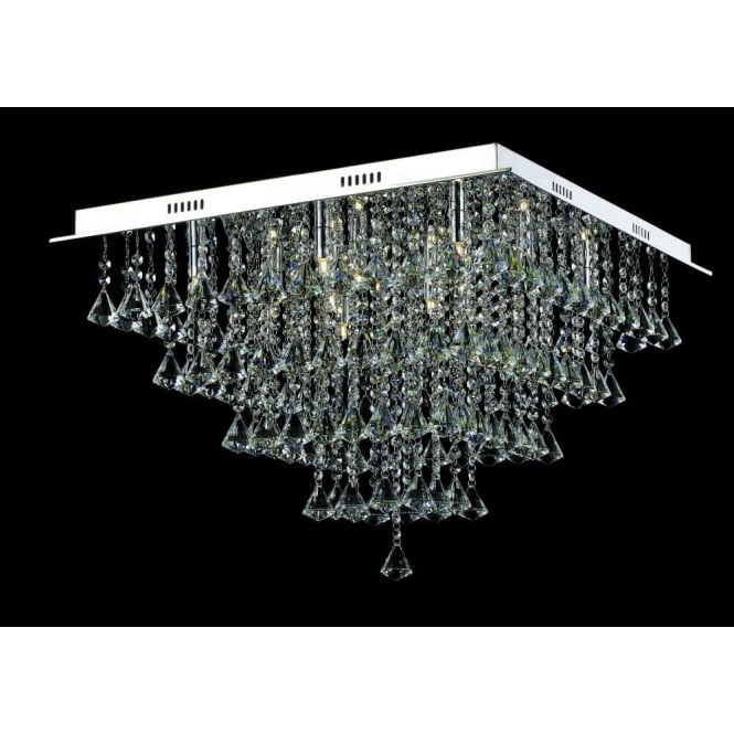 Impex Lighting Parma Large Square 12 Light Semi-Flush Fitting with Polished Chrome Finish and Crystal Detail