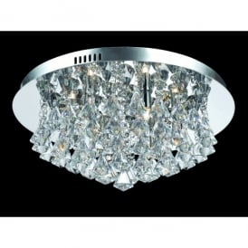 Parma Medium Circular 6 Light Flush Fitting in Polished Chrome with Crystal Detail