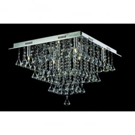 Parma Medium Square 8 Light Semi-Flush Fitting with Polished Chrome Finish and Crystal Detail