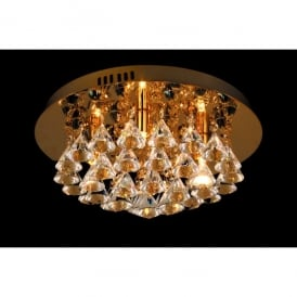 Parma Small Circular 4 Light Flush Fitting in Gold Finish with Crystal Detail