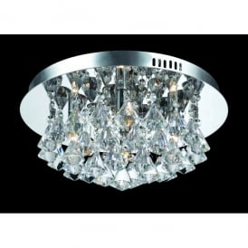 Parma Small Circular 4 Light Flush Fitting in Polished Chrome with Crystal Detail