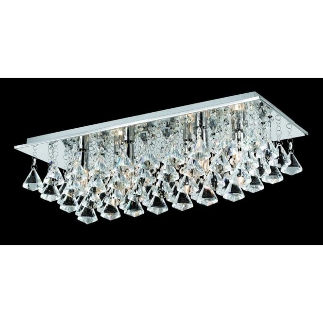 best loved 5f33c f32ce Impex Lighting Parma Small Rectangular 6 Light Flush Fitting with Polished  Chrome Finish and Crystal Detail