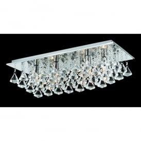 Parma Small Rectangular 6 Light Flush Fitting with Polished Chrome Finish and Crystal Detail