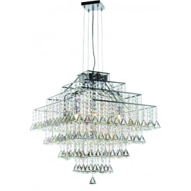 Parma Square 10 Light Pendant with Polished Chrome Finish and Clear Crystal Detail