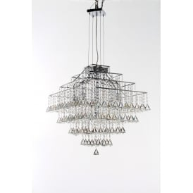 Parma Square 12 Light Pendant with Polished Chrome Finish and Clear Crystal Detail