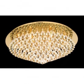 Parma XL Circular 12 Light Flush Fitting in Gold Finish with Crystal Detail