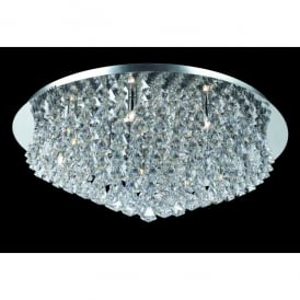 Parma XL Circular 12 Light Flush Fitting in Polished Chrome with Crystal Detail