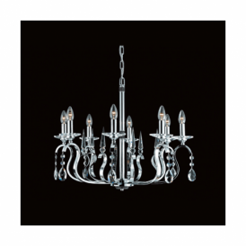 Rhinestone Crystal And Chrome Or Gun Metal 8 Light Fitting