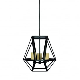 Riva 3 Light Large Ceiling Pendant in Black Finish