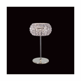 Rome Chrome, Crystal And Glass 3 Light Table Lamp