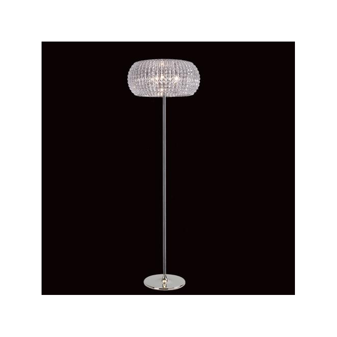 Impex Lighting Rome Chrome, Crystal And Glass Floor Lamp
