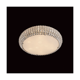 Rome Chrome Crystal And Glass Flush Ceiling Fitting In 2 Sizes