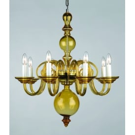 Salas 8 Light Ceiling Pendant in Amber Crystal Finish