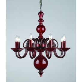 Salas 8 Light Ceiling Pendant in Red Crystal Finish