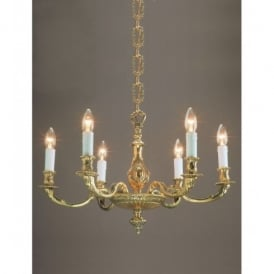 Sandringham Solid Brass 6 Light Ceiling Fitting