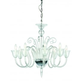 Saskia 8 Light Ceiling Pendant In Polished Chrome And Clear Crystal Glass Finish