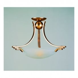 SF13901 AB Amora Antique Brass 2 Light Semi-flush Ceiling Fitting