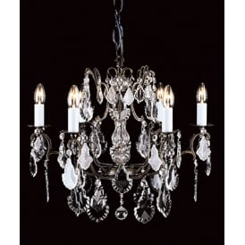 Straz 6 Light Ceiling Pendant In Antique Brass Finish Trimmed With Hand Cut Crystal Glass Drops