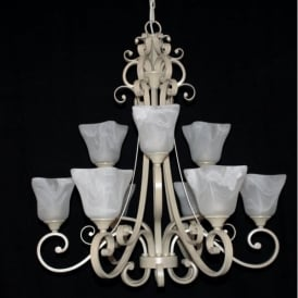 Sylvie 9 Light Ceiling Fitting with an Antique Cream finish