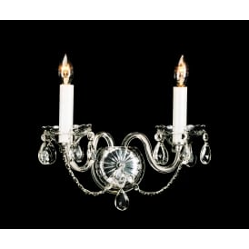 Teplice 2 Light Wall Fitting In Chrome And Clear Crystal Finish And White Candle Sleeves