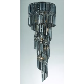 Toronto 14 Light Ceiling Fitting in Gun Metal And Clear Crystal Finish