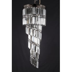 Toronto 9 Light Ceilig Fititng in Gun Metal And Clear Crystal Finish
