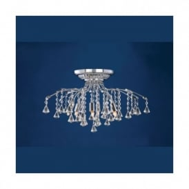 Treviso Chrome And Crystal Halogen 6 Light Semi-flush Fitting