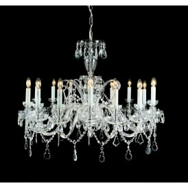 Trutnov 16 Light Ceiling Pendant In Chrome And Clear Crystal Finish And White Candle Sleeves