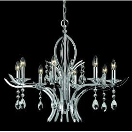 Turin 8 Light Ceiling Pendant In Polished Chrome And Crystal Finish