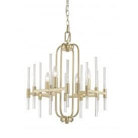 Verna 4 Light Ceiling Pendant In Satin Gold And Crystal Finish
