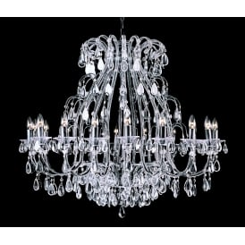 Versailles 18 Light Ceiling Pendant in Black Silver Finish With Clear Crystal Decoration