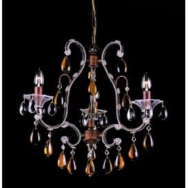 Versailles 3 Light Ceiling Pendant in Rustic Bronze Finish With Amber Crystal Decoration