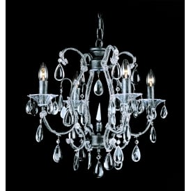 Versailles 4 Light Ceiling Pendant in Black Silver Finish With Clear Crystal Decoration