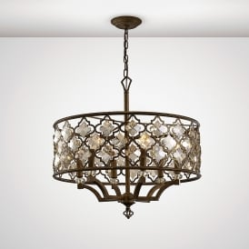 Indie 6 Light Ceiling Pendant In Mocha Finish With Crystal Detail
