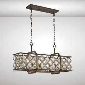 Indie 6 Light Over Island Ceiling Pendant In Mocha Finish With Crystal Detail