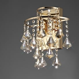 Inina 2 Light French Gold Wall Fixture Dressed in Clear Crystal