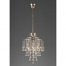 Inina 4 Light French Gold Ceiling Pendant with Clear Crystal