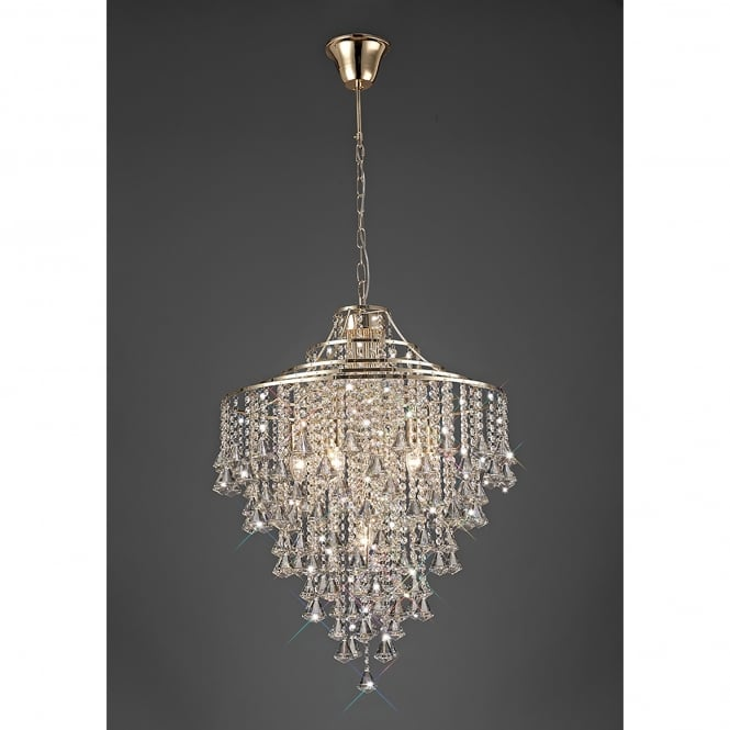Diyas Inina 7 Light French Gold Ceiling Pendant with Clear Crystal
